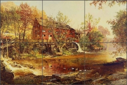 The Old Red Mill by Jasper F. Cropsey Ceramic Tile Mural - 502011