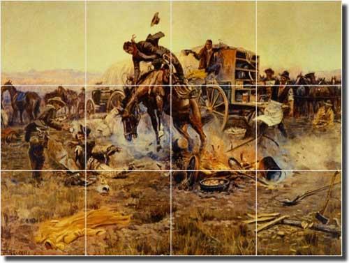 Russell Western Cowboy Ceramic Tile Mural 17 X 522051