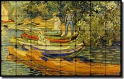 "van Gogh Landscape Boats Tumbled Marble Tile Mural 48"" x 30"" - 523007"