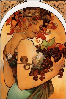 Fruit by Alphonse Maria Mucha Ceramic Tile Mural AMM016