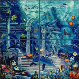 Visions of Atlantis by John Enright Glass Tile Mural BC-JE07