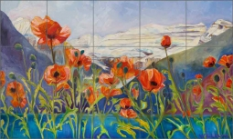 Heart Poppies by Diane Williams Ceramic Tile Mural DWA019