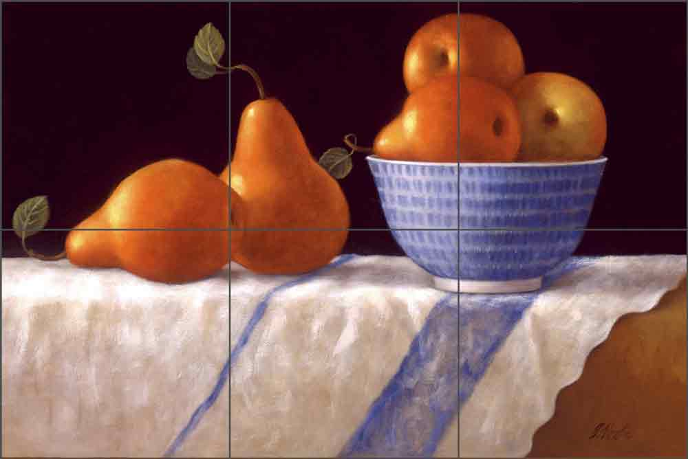 Red Pears by Frances Poole Ceramic Tile Mural FPA003-2
