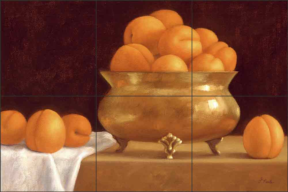 Apricots by Frances Poole Ceramic Tile Mural FPA004-2
