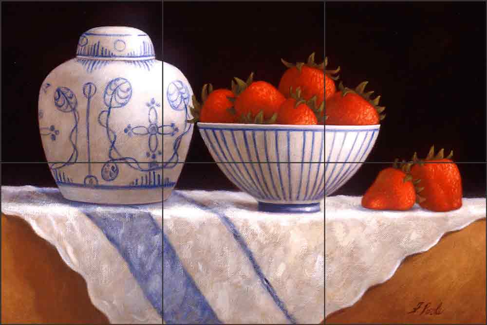 Strawberries by Frances Poole Ceramic Tile Mural FPA005-2