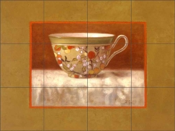 Tea for One by Frances Poole Ceramic Tile Mural FPA013