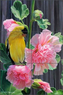 Goldfinch and Hollyhocks by Leslie Macon Ceramic Tile Mural LMA051