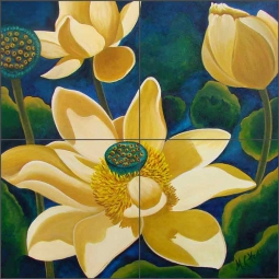 Lady Lotus by Micheline Hadjis Ceramic Tile Mural MHA050