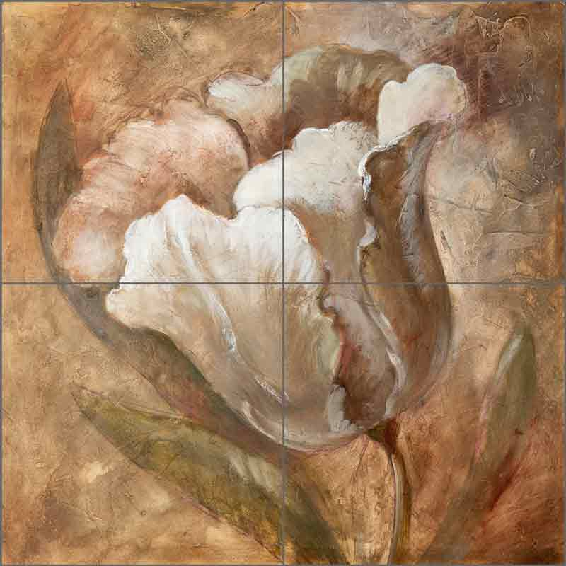 Taupe Tulip by Wilder Rich Ceramic Tile Mural OB-WR1238