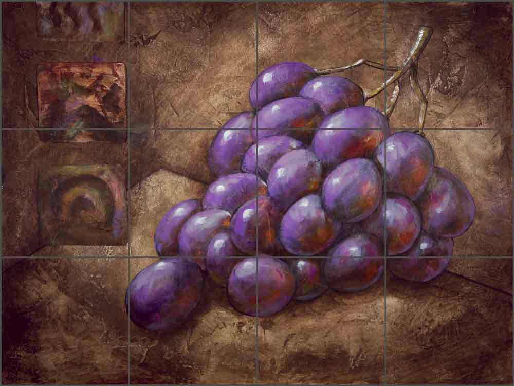 Purple Grapes by Wilder Rich Ceramic Tile Mural OB-WR687a