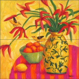 Golden Songs by Cindy Revell Ceramic Tile Mural POV-CR003
