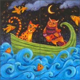 Love in a Boat by Cindy Revell Ceramic Tile Mural POV-CR006