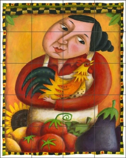 Market by Cindy Revell Ceramic Tile Mural POV-CR009