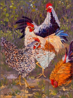 Rooster Rendezvous by John Powell Ceramic Tile Mural POV-JP013