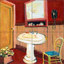 Garnet Bath by Ramona Jan Ceramic Tile Mural POV-RJA027