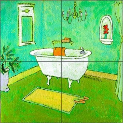 Lime Recline by Ramona Jan Ceramic Tile Mural POV-RJA028