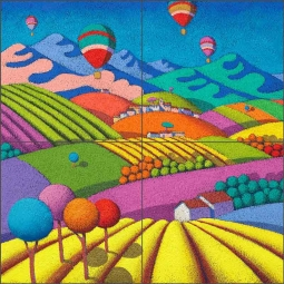 Wine Landscape with Balloons by Stefano Calisti Ceramic Tile Mural POV-SC004