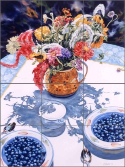 Paint Brushes, Dahlia and Blueberries by William C Wright Ceramic Tile Mural POV-WWA007