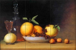 Still Life with Liqueur and Fruit by Raphaelle Peale Ceramic Tile Mural RP002