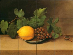 Lemon and Grapes by Raphaelle Peale Ceramic Tile Mural RP003