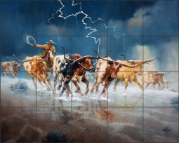 Of Longhorns and Bad Language by Jack Sorenson Floor Tile Mural RW-JS052