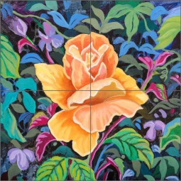 Biltmore Rose by Robin Wethe Altman Ceramic tile Mural RWA048