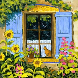 Cat in the Window by Robin Wethe Altman Accent & Decor Tile RWA062AT