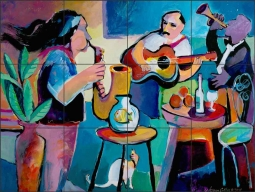 Musicians by Warren Cullar Ceramic Tile Mural WC140