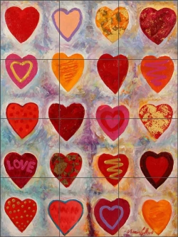 Hearts by Warren Cullar Ceramic Tile Mural WC149