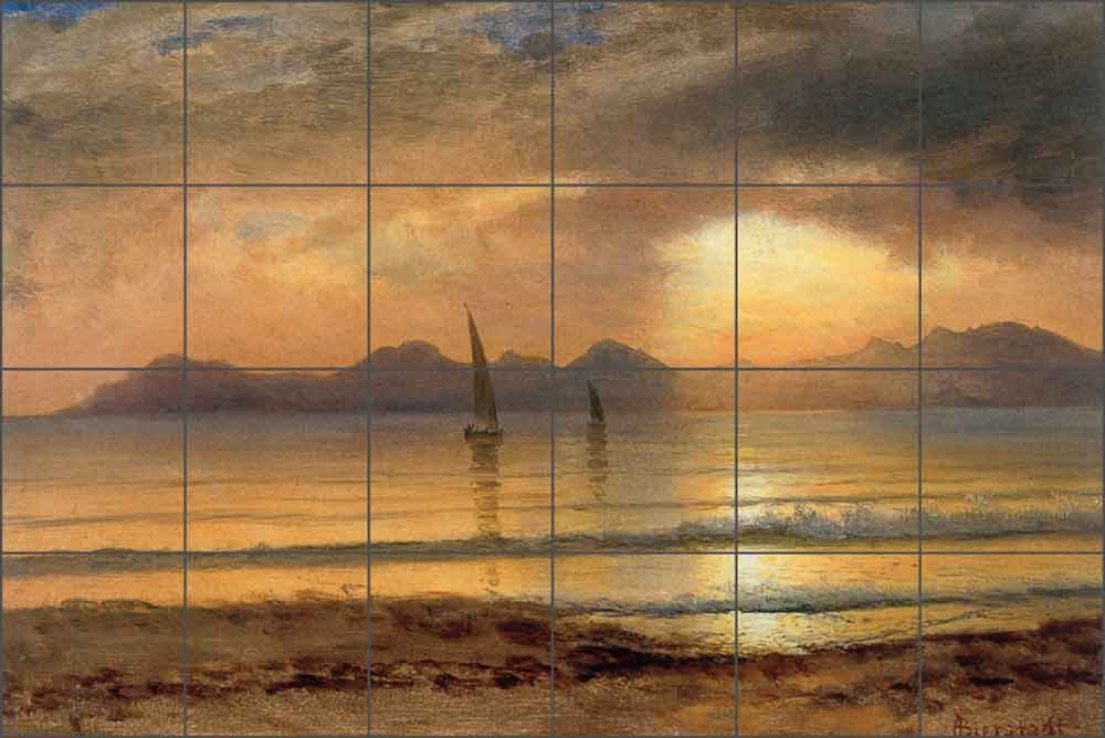 Sunset Over a Mountain Lake by Albert Bierstadt Ceramic Tile Mural - AB5004