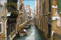 The Canal by Angelica Di Chiara Ceramic Tile Mural ADCH006