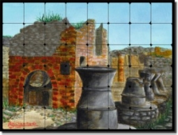 "Pompei by Angelica Di Chiara-Hardin - Landscape Tumbled Marble Tile Mural  24"" x 32"" Kitchen Shower"