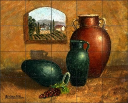 Pottery III by Angelica Di Chiara Ceramic Tile Mural ADCH013