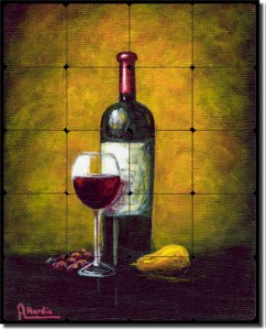 "Wine Glow by Angelica Di Chiara Hardin - Wine Tumbled Marble Tile Mural 30"" x 24"" Kitchen Backsplash"