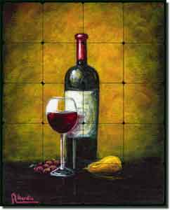 "Hardin Wine Grape Tumbled Marble Tile Mural 16"" x 20"" - ADCH015"