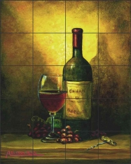 Wine Shadow by Angelica Di Chiara Ceramic Tile Mural ADCH016