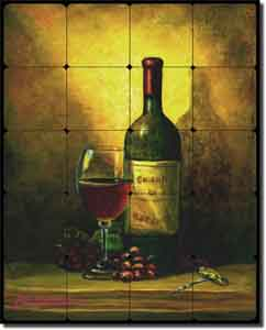"Hardin Wine Still Life Tumbled Marble Tile Mural 16"" x 20"" - ADCH016"