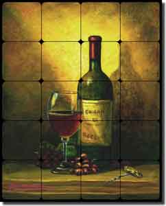 "Hardin Wine Still Life Tumbled Marble Tile Mural 24"" x 30"" - ADCH016"