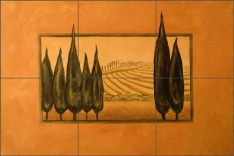Cypress Abstract by Angelica Di Chiara Ceramic Tile Mural - ADCH017