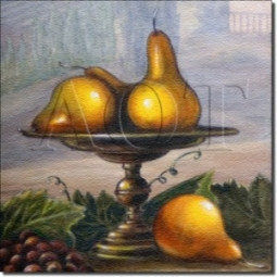 "Pear by Angelica Di Chiara Hardin - Pear Fruit Tumbled Marble Mural 16"" x 16"" Kitchen Backsplash"