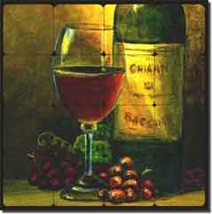 "Hardin Wine Grape Tumbled Marble Mural 24"" x 24"" - ADCH022"
