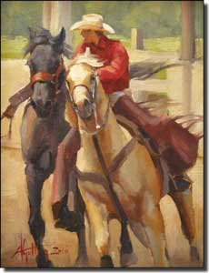 "Gutting Western Cowboy Horses Ceramic Accent Tile 6"" x 8"" - AGA003AT"