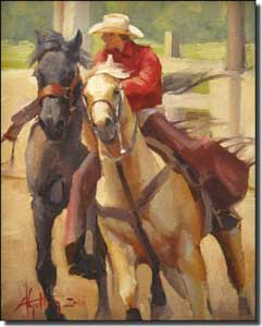 "Gutting Western Cowboy Horses Ceramic Accent Tile 8"" x 10"" - AGA003AT"