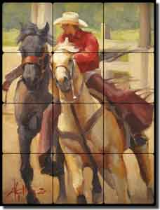"Gutting Western Cowboy Horses Tumbled Marble Tile Mural 18"" x 24"" - AGA003"