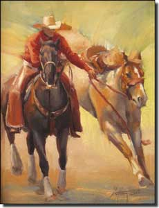 "Gutting Western Cowboy Horses Ceramic Accent Tile 6"" x 8"" - AGA004AT"