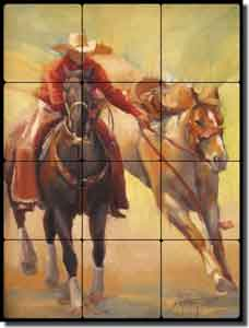 "Gutting Western Cowboy Horses Tumbled Marble Tile Mural 12"" x 16"" - AGA004"