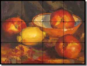 "Gutting Fruit Nectarines Tumbled Marble Tile Mural 16"" x 12"" - AGA008"