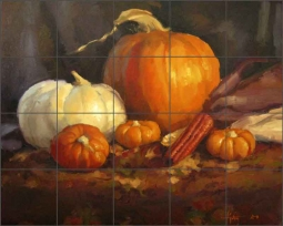 Gutting Vegetables Pumpkins Ceramic Tile Mural - AGA009