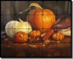 "Gutting Vegetables Pumpkins Tumbled Marble Tile Mural 20"" x 16"" - AGA009"