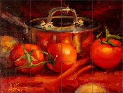 Stainless and Tomatoes by Abigail Gutting Ceramic Tile Mural - AGA012
